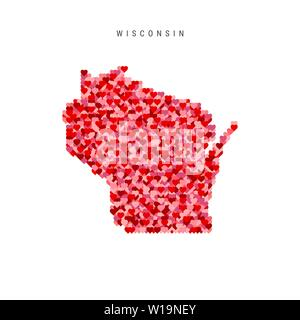 I Love Wisconsin. Red Hearts Pattern Vector Map of Wisconsin - Stock Image