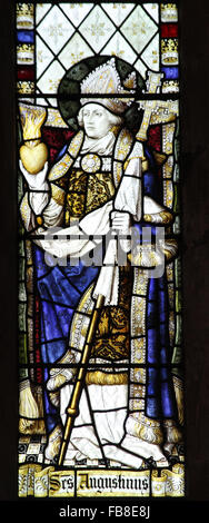 Stained glass window depicting Saint Augustine of Hippo, St Peter's Church, Deene, Northamptonshire - Stock Image