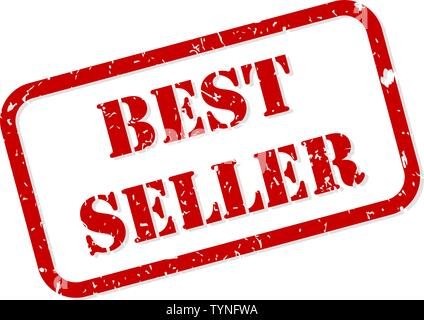 Best seller red rubber stamp vector isolated - Stock Image