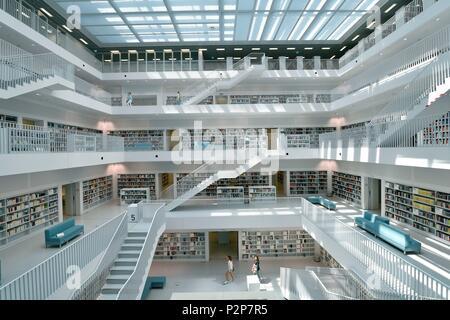 Germany, Baden-Wurttemburg, Stuttgart, Mailander Platz, new Stuttgart city library - Stock Image