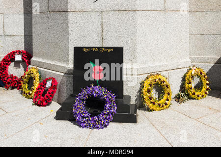 8th May 2017, Bury, Greater Manchester, UK. Two weeks after Anzac Day (April 25th), several remembrance wreaths lie at the foot of Bury war memorial.. - Stock Image