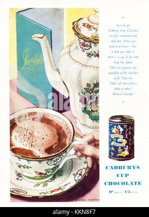 1939 UK Magazine Cadburys Cup Chocolate Advert - Stock Image