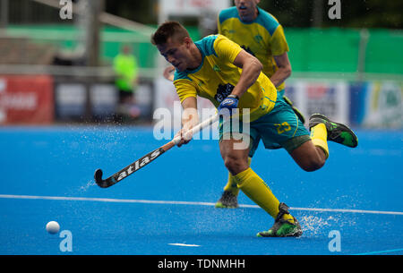Krefeld, Germany, June 16 2019, hockey, men, FIH Pro League, Germany vs. Australia:  Daniel Beale (Australia) drives the ball. - Stock Image