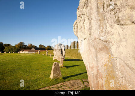 UK, England, Wiltshire, Avebury, stones in northern part of main henge near the village church - Stock Image