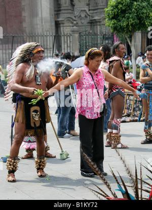 Aztec Shaman Performing Ritual Cleansing, Zocalo Square, Plaza de la Constitucion, Mexico City, Mexico - Stock Image