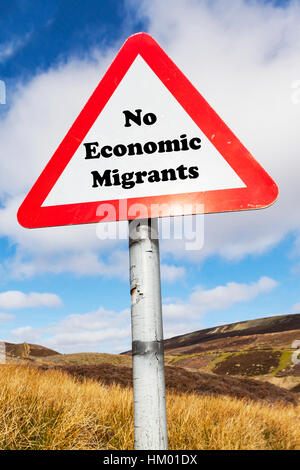 No economic migrants concept sign migration problems in the UK England - Stock Image