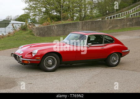 Jaguar E-Type S3 V12 Coupe (1971)British Marques Day, 28 April 2019, Brooklands Museum, Weybridge, Surrey, England, Great Britain, UK, Europe - Stock Image