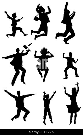 Jumping people silhouettes with happiness expression - Stock Image