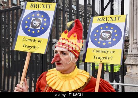 27th March, 2019. A Brexiteer stages a protest. Brexit Protests in Westminster, Houses of Parliament, Westminster, London. UK Credit: michael melia/Alamy Live News - Stock Image