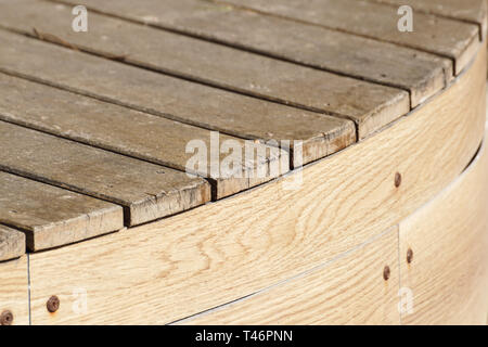 Wood Texture, Wooden Plank Grain Background, Desk in Perspective Close Up, Striped Timber, Old Table or Floor Board - Stock Image