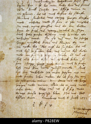 Martin Luther (1483-1546). German Theologian, figure of the Protestant Reformation. Handwritten letter of Luther (1531). Vatican Apostolic Library. Vatican City. - Stock Image