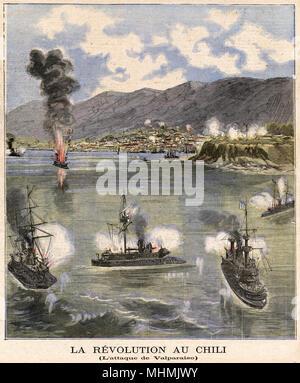 Revolutionary rebels attack Valparaiso.       Date: 1891 - Stock Image