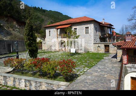 LITOCHORO, GREECE - APRIL 12, 2015: Monastery of Saint Dionysius of Mount Olympus, Litochoro, Greece. - Stock Image