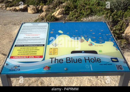 Gozo-Dwejra- Malte, The blue Hole - Stock Image