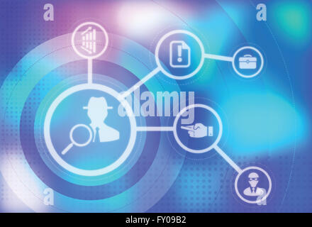 Detective with magnifying glass showing the concept of Crime, Business and Research - Stock Image