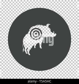 Boar silhouette with target icon. Subtract stencil design on tranparency grid. Vector illustration. - Stock Image
