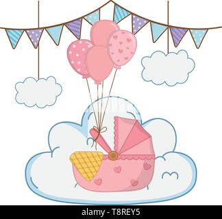 cradle with blanket and balloons decorated with stars and points over a cloud a pendants hanging vector illustration graphic design - Stock Image