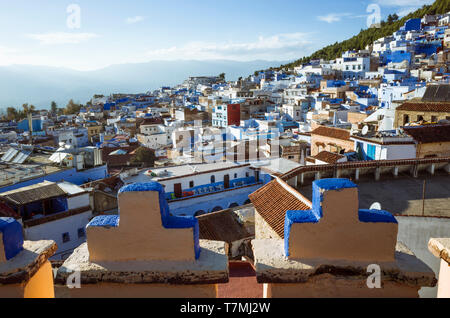 Chefchaouen, Morocco : General view of the medina old town, well noted for its blue-washed architecture, as seen from the Aladin hotel rooftop. - Stock Image