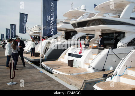 Southampton, UK. 11th September 2015. Southampton Boat Show 2015. Princess boats lined up in the marina. Credit: - Stock Image