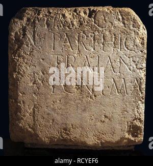 6409. Inscription dedicated to Emperor Hadrian found in Jerusalem. - Stock Image