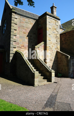 Newton Parish Church on the outskirts of Edinburgh showing the miners' staircase - Stock Image