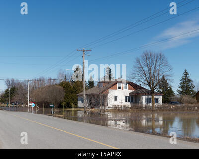 Quebec,Canada. A flooded home in Berthierville - Stock Image