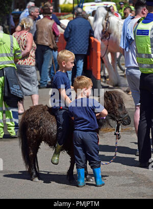 Two small Gypsy Traveller boys with miniature pony. Appleby Horse Fair 2018. The Sands, Appleby-in-Westmorland, Cumbria, England, United Kingdom. - Stock Image