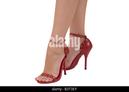 woman legs on white background - Stock Image