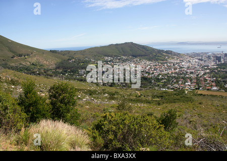 A View of Signal Hill and Cape Town from Table Mountain, Cape Town, Western Cape Province, South Africa. - Stock Image