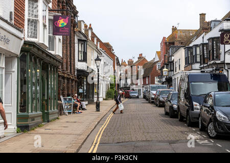 Visitors in High St in Rye, East Sussex, England, UK - Stock Image
