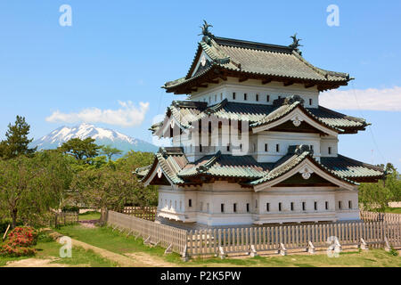 Hirosaki Castle with Mount Iwaki in the background. The castle is in its temporary location and base structure during its renovation works. Hirosaki,  - Stock Image