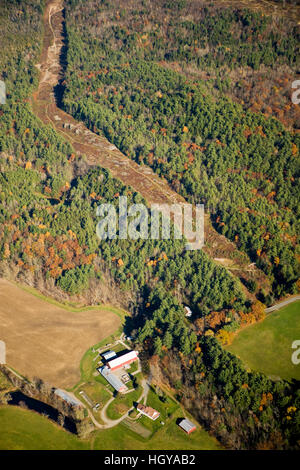 A farm and power lines in Monroe, New Hampshire.  Aerial. - Stock Image