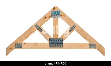 Sample of a timber roof truss showing its manufacture isolated against a white background - Stock Image