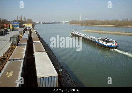 Container terminal and docks, Niehl, Cologne, Germany. - Stock Image