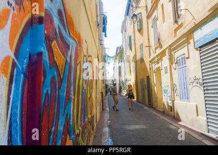 Marseille, FRANCE, Walking on Street, Front of Building, Old CIty Center, Tourists Visiting Neighborhood, Street Art on Display in old Neighborhood, the Panier - Stock Image