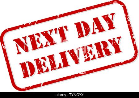 Next day delivery red rubber stamp vector isolated - Stock Image