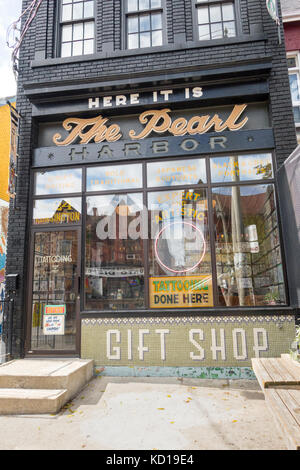 The Pearl Harbour Tatto parlour in Kensington Market in downtown Toronto Ontario Canada - Stock Image