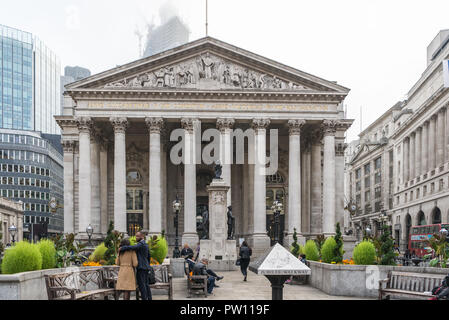 The Royal Exchange at Bank in the City of London, England, UK - Stock Image