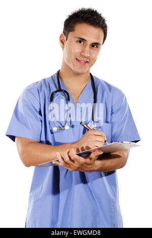 Stock image of male healthcare worker isolated on white background - Stock Image