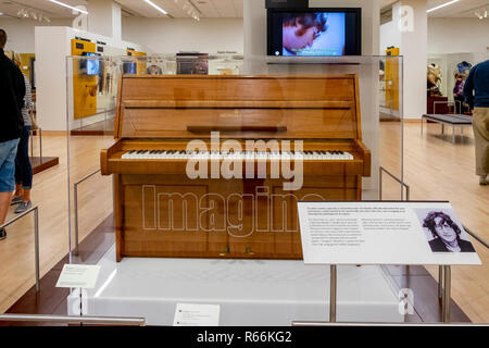 Piano on which John Lennon composed the song Imagine, Musical Instrument Museum, Phoenix, Arizona, USA - Stock Image