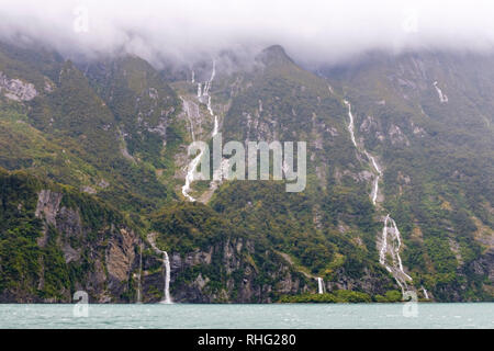 View from boat on Milford Sound, New Zealand - Stock Image