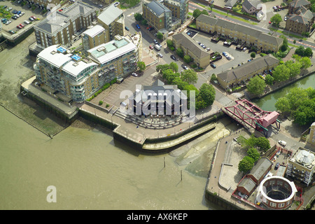 Aerial view of the Spice Island pub on the banks of the River Thames in the Rotherhithe area of London - Stock Image