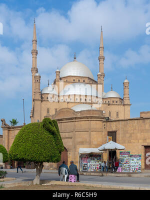 Cairo, Egypt - January 10 2016: The great Mosque of Muhammad Ali Pasha (Alabaster Mosque), situated in the Citadel of Cairo - Stock Image
