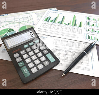 3d Illustration of Financial documents, graphs and pie charts on wooden background. Pen and Calculator. Depth of field. Green Theme. - Stock Image