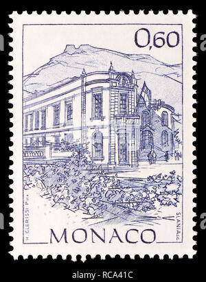 Monaco postage stamp (1992): Early Views of Monaco definitive series: Building of the National Council - Stock Image
