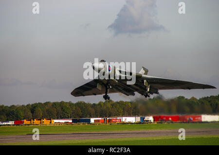 Avro Vulcan B2 XH558 jet bomber plane, ex RAF, restored to flight by Vulcan to the Sky, Vulcan Operating Company, taking off for first flight restored - Stock Image