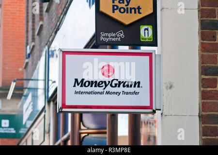 Moneygram International Money Transfer Sign - Stock Image