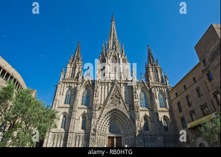 The facade of the exterior of the Barcelona Cathedral (Cathedral of the Holy Cross), Barcelona, Spain - Stock Image