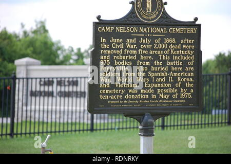 Camp Nelson National Cemetery Sign - Stock Image