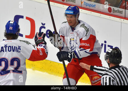 Karlovy Vary, Czech Republic. 18th Apr, 2019. Martin Zatovic, left, and Tomas Fort of Czech Republic celebrate a goal during the Euro Hockey Challenge match Czech Republic vs Germany in Karlovy Vary, Czech Republic, April 18, 2019. Credit: Slavomir Kubes/CTK Photo/Alamy Live News - Stock Image